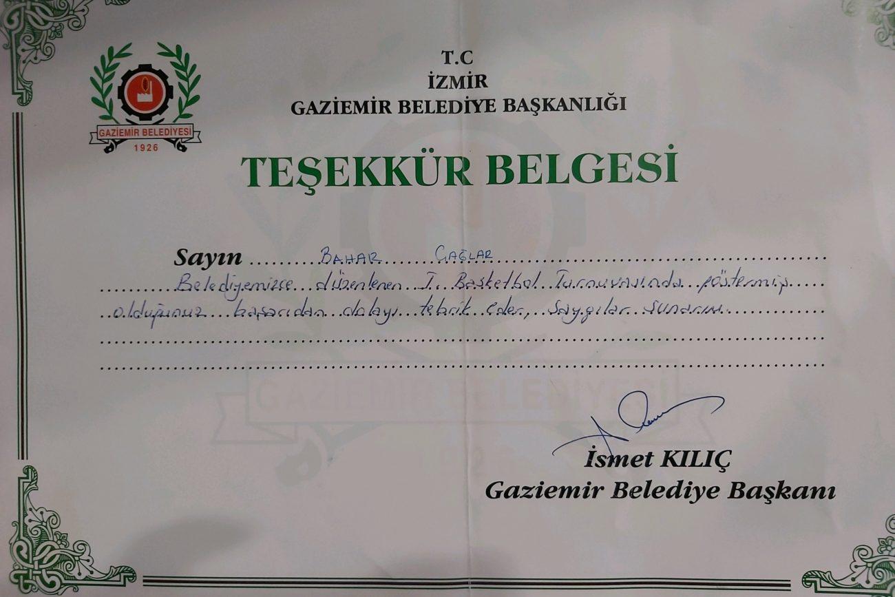 Bahar Caglar Sertifika Madalya Diploma 1