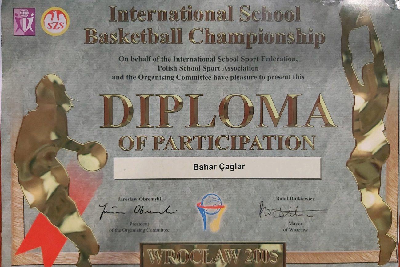 Bahar Caglar Sertifika Madalya Diploma 2