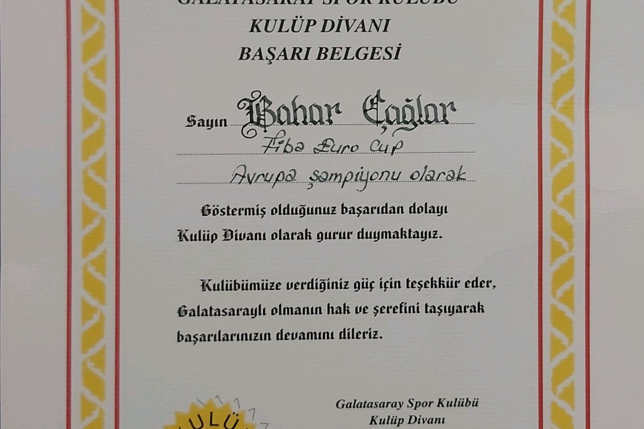 Bahar Caglar Sertifika Madalya Diploma 4